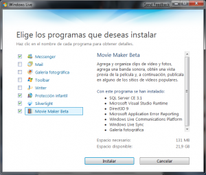Instalacion de Windows Live