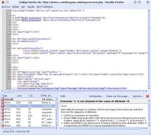 Ventana del plugin html validator