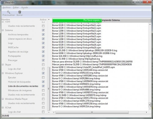 Bleachbit en Windows vista