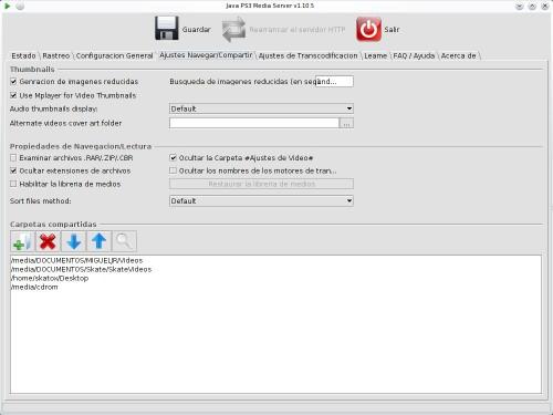 Configuración de las carpetas en el Playstation Media Server