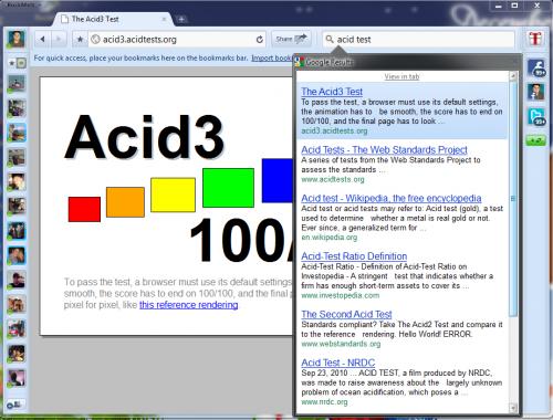 RockMelt pasando el Acidtest
