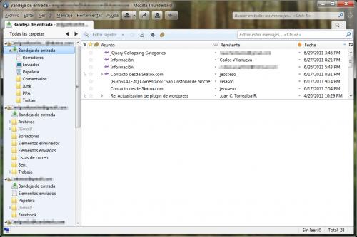 Interfaz Aero de Thunderbird 5 en Windows