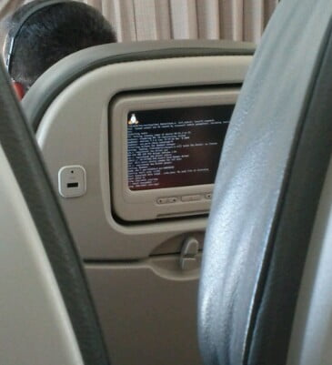 Pantalla del avión con Linux