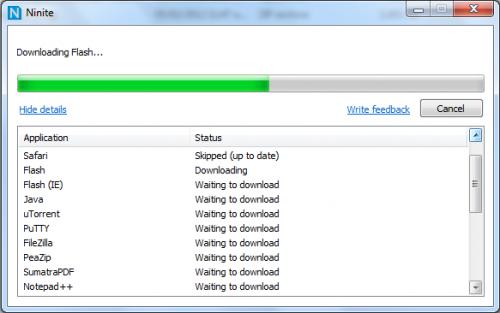 Interfaz de Ninite actualizando archivos