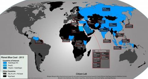 Mapa mundial de las instalaciones mundiales de BlueCoat