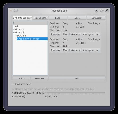 Interfaz de configuración de Touchegg