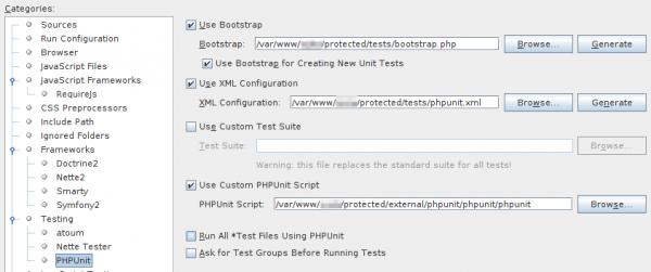 Selección de scripts de PHPunit de Composer en Netbeans
