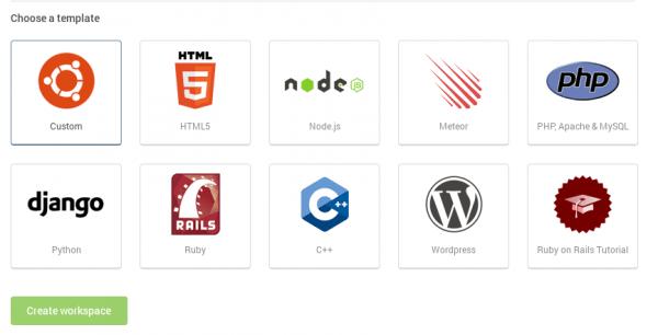 Plantilla de espacios de trabajo disponibles en Cloud9