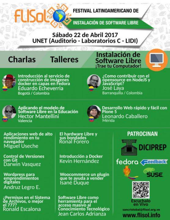 Afiche del FLISoL 2017 de San Cristóbal, Venezuela