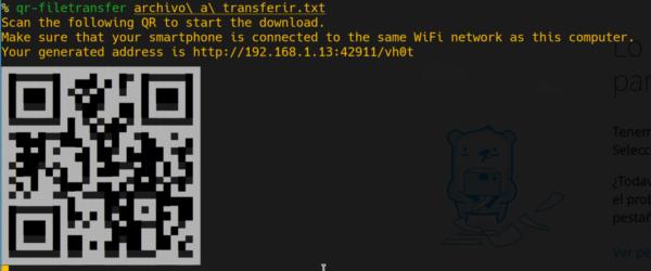 Ejemplo de uso de QR Transfer para enviar archivos
