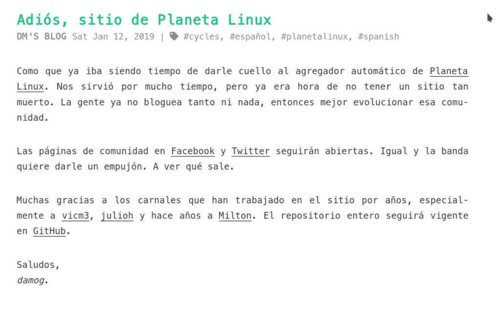 Nota de cierre de Planeta Linux