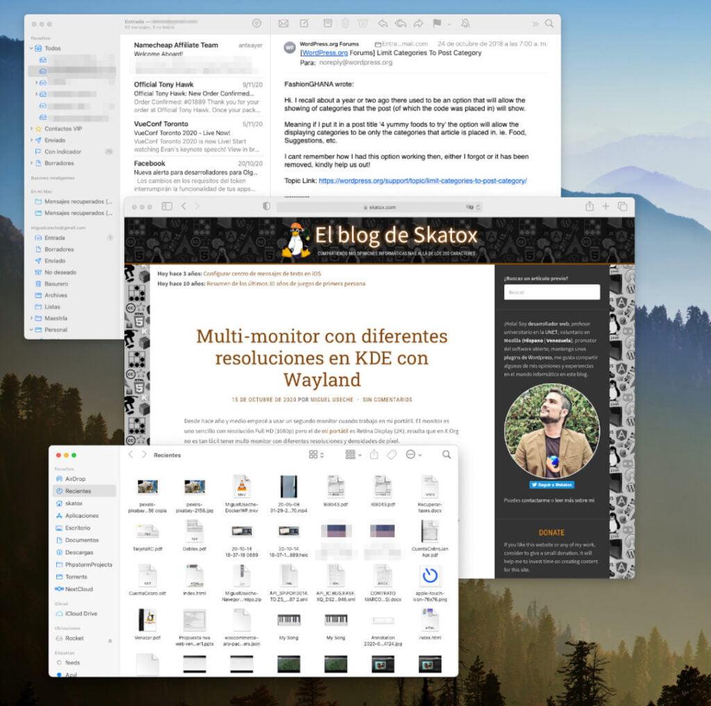 Ventanas de la aplicación de correo Mail, el navegador Safari y el explorador de archivos Finder en macOS Big Sur